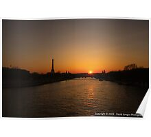 Sunset over the River Seine Poster
