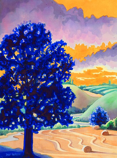 """Rolling Hills"" Watercolor by Paul Jackson"