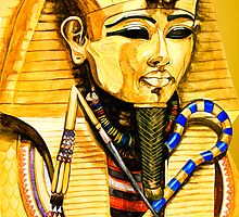 Egyptian series-Toutankhamon watercolor by Marilyns