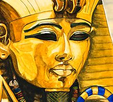 Toutankhamun watercolor close up card  by Marilyns