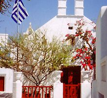Crimson Greek Church by Alison Badgery