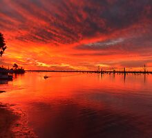 Flaming Sky - Lake Mulwala by David Hunt