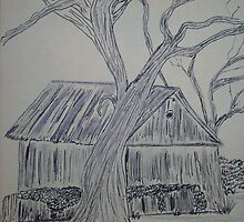 Jacob's Barn and live oak tree by karen salley-rice