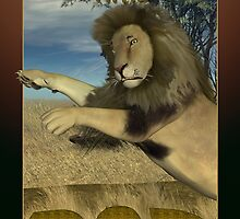Father's Day card with pouncing Lion by Moonlake