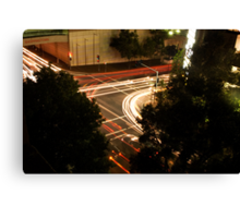 Street Lights at a busy intersection Canvas Print