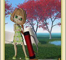 Father's Day with little golfing girl by Moonlake