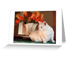 Snowball and the Tulips Greeting Card