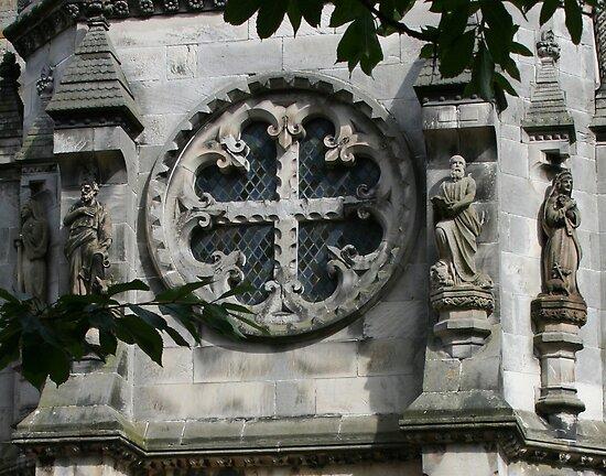 Fleur de Lis Circle Cross Window by Bernadette Watts
