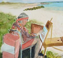 Julia Painting at Boyton Inlet beach by donnawalsh
