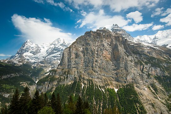 Eiger, Mönch and part of Jungfrau mountain by peterwey