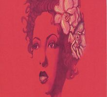 Billie Holiday in red by Louisa McQ