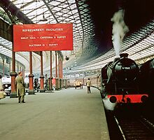Express Steam Engine at Euston Station 1957 by Fred Mitchell