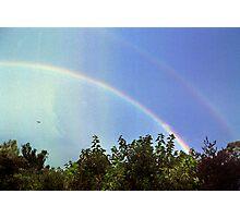 blue rainbow with little bird Photographic Print