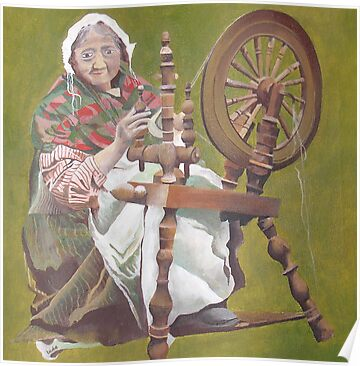 Old Irish Woman Sitting At A Spinning Wheel by taiche