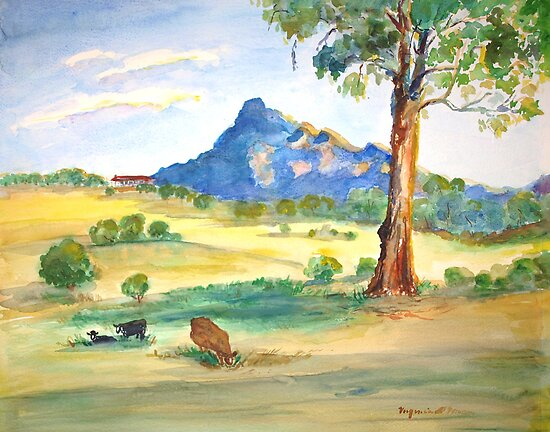 Mt Barney View with Cows by Virginia McGowan