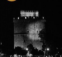 Full moon over the White Tower, Thessaloniki, Makedonia, Greece by makedon