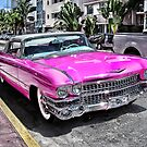 Pink Cadillac - Collins Ave - Miami by David Charniaux