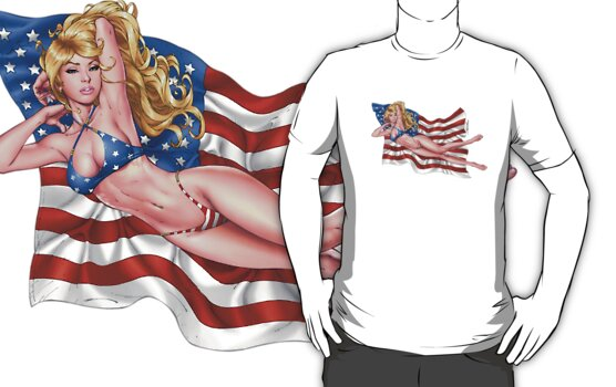 Sexy Blond with American Flag Bikini by Al Rio by alrioart
