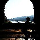 Ponte Vecchio Cyclist by 1001pawprints