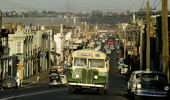 Evening Traffic Johnston Strteet Collingwood 1962 by Fred Mitchell