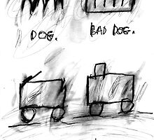 Dog, Bad Dog, Trolley, Railroad by ReBecca Gozion