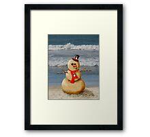 Sand Snowman at the beach! Framed Print