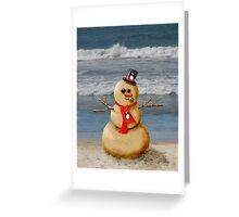 Sand Snowman at the beach! Greeting Card