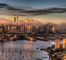 Misty- Sydney Harbour & Skyline - The HDR Experience by Philip Johnson