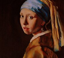 Girl with a Pearl Earring, after Vermeer. Unfinished. by Lara  Cooper