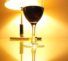The contented golden glow of red wine. by Lynne Haselden