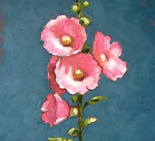 Pink Hollyhocks in Oil Pastel by Joyce