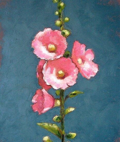 Pink Hollyhocks in Oil Pastel by Joyce