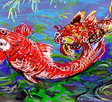 Two goldfish on blue paper. by Marilyn Baldey