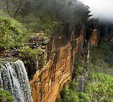 Waterfall, cliffs, bush and mist. by John Spies