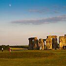 Setting Sun and Moon @ Stonehenge: Wiltshire UK by DonDavisUK