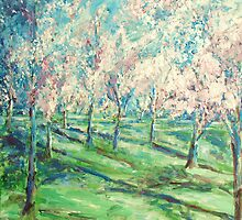 Cherry Trees Washington DC Painting by schiabor
