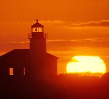 Coquille River Light by Christopher  Boswell