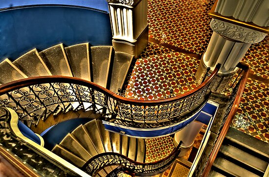 Vertigo - The Grand Stair Case - QVB , Sydney - The HDR Experience by Philip Johnson