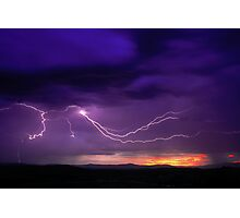 Sunrise Lightning, Yarra Valley, Victoria. Photographic Print