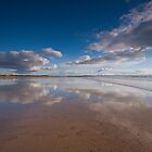 Washing the reflections at Saunton Sands by Zoë Power