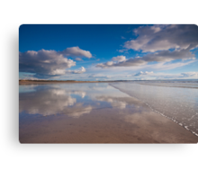 Waves wash over the Saunton Sands mirror Canvas Print