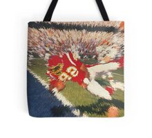 Digital Art Image of Football Player Leaping into the Endzone Tote Bag