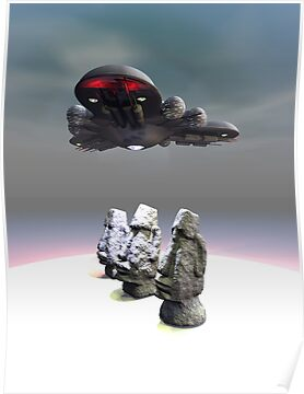 Easter Island Heads and UFO by mdkgraphics