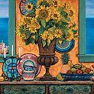 Still Life with Sunflowers & Italian Coast by Sarina Tomchin
