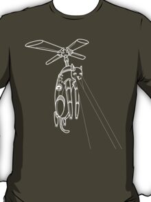 Cat Helicopter searching at ya outline version T-Shirt