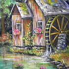 Mill on Pond by Pamela Plante