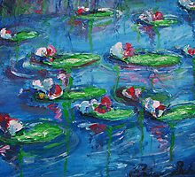 Lily Pads on a Pond PAINTING $375 by schiabor