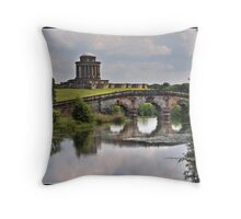 New river bridge and Mausoleum at Castle Howard Throw Pillow
