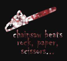 chainsaw beats rock, paper, scissors by stevegrig