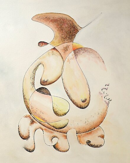 "Irregular Feminine Vase - watercolor - 8"" x 10"" by Dave Martsolf"